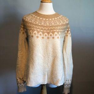 JOIE- CREWNECK Cream/Tan Isle Sweater- Size Large